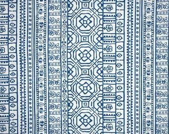"""One 52"""" Round Tablecloth  Indoor/Outdoor - Aztec - Cobalt Blue"""