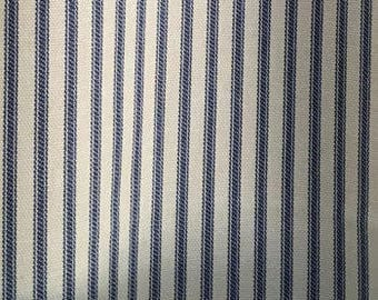 """Four Custom Lined Panels  96""""L   With Pinch  Pleats and One Faux Roman.Shade  -    Ticking Stripes -  Navy"""