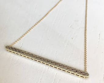 Delicate Two Tone Filigree Pendant Necklace - 14k Yellow and White Gold
