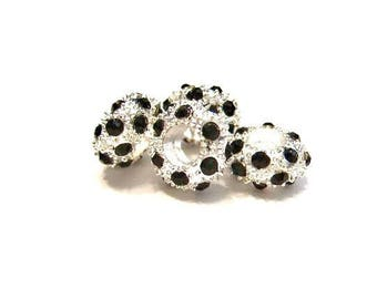 SALE- RESTOCK Date 7-27-17, 5 Silver with Black Crystals European Charm Bracelet Beads - Euro Beads, Cheerios