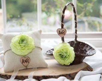 Flower girl basket and ring bearer pillow with hemp and silk flowers of your choice