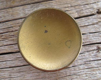 Round salvaged brass knobs (1 available) / 1.5 inch rustic brass drawer pull knobs / hollow round brass knobs