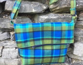 Large, blue Westfalia Plaid Messenger Bag