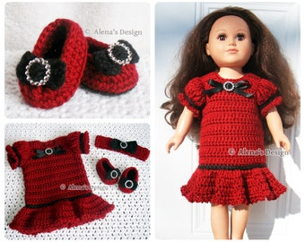 Crochet Pattern 3 PC Set for 18 in Doll Crochet Patterns Holiday Doll Outfit for American Doll Outfit Dolls Clothing Christmas Gift for Girl