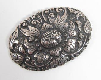 800 Silver Thistle Design Repousse Brooch Scottish Antique Vintage Oval Floral