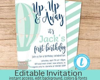 Balloon First Birthday Invitation / Hot air balloon invitation/ Blue Balloon Invitation/ Aqua First Birthday Invitation/ Instant Download