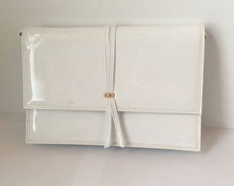 1970s Vintage Koret Crossbody Purse in White Patent Leather