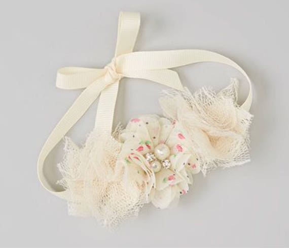 Ballet Bun Wrap - Dance - Ivory Lace with Rosebud Print Flower on Grosgrain Ribbon for All Ages, Ribbon Tie, by Lil MIss  Sweet Pea