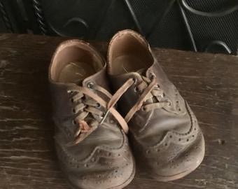 Boy Toddler Shoes Vintage Poll-Parrot Label Brown Bbxs