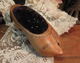 Vintage Pincushion / Wooden Shoe / Souvenir of Belgium / Wooden Dutch Shoe Pincushion / Collectible Pincushion