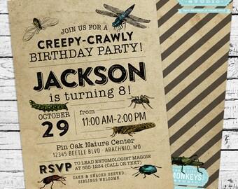 Vintage Bugs Entomology Birthday Invitation