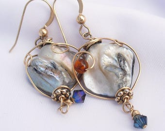 Contemporary Shell Earrings 14K Gold Filled Ear Wires