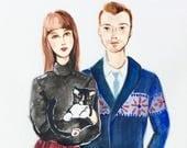 "11""x14"" Custom Fashion Illustration - Watercolor Painting - Family Portrait"