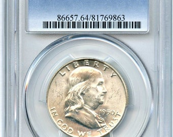1950 Ben Franklin Half dollar MS 64 FBL pcgs