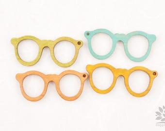 W100-01// Small Wooden Glasses Pendant, 2pcs