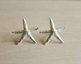 Starfish Earrings in Antiqued Silver