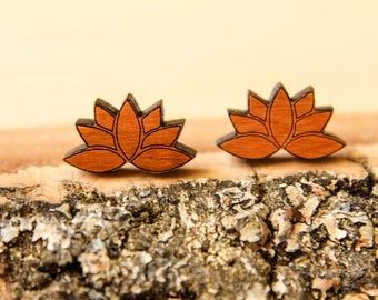 Lotus Flower Studs, Laser Cut Wood Earrings, Laser Etched, Open Lotus Flower, Sustainable Wood, Eco Accessory, Japanese Zen Flower