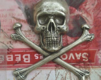 Large skull and crossed bones brass stamping, brass ox, brass stampings made in the usa