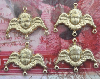 FOUR Angel Charms, Brass Stampings, Raw Brass, Jewelry Supplies and Findings Made in the USA