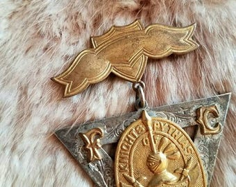 Antique medal pin Knights Pythias