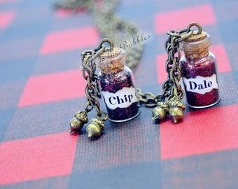 BFF Necklace, Best Friend Necklaces, Chip & Dale Necklaces 2 Acorns on Each Necklace, Best Friend Gift, Friendship Necklace, Disney Necklace