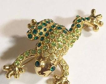 Vintage Green Rhinestone Frog Brooch by Monet