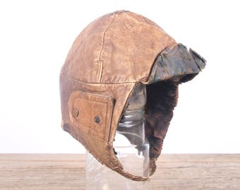 Vintage WWI Leather Pilots Hat / Army Pilots Helmet / Brown Leather Aviators Hat / Army Uniform / Military Gift Collectible