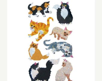SALE Hambly Cats Glitter Sticker Strip - Kitten Kitty Cat Feline Tabby Calico Siamese Tuxedo Rare Style Vintage Scrapbook