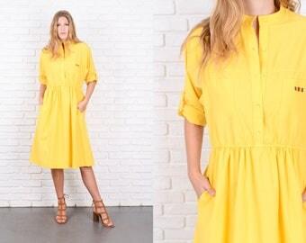 Vintage 80s Bold Yellow Dress Shirt Dress A Line Shirtdress Medium M 9920