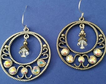 Circle Chandelier earrings with crystals