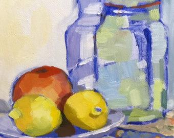 Canning in Color Original Still Life Oil Painting on Canvas