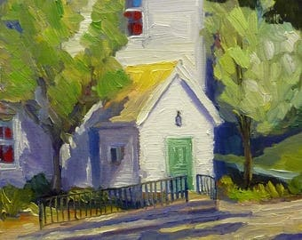 Sunday Morning Small Plein Air Landscape Oil Painting on Canvas
