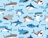 Sharks on Blue from Riley Blake's Sharktown Collection by Shawn Wallace