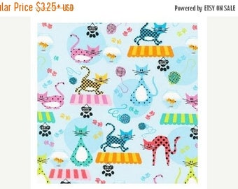"SUMMER SALE Fat Quarter Only (18""X22"") of The Kitty Shop from Robert Kaufman"