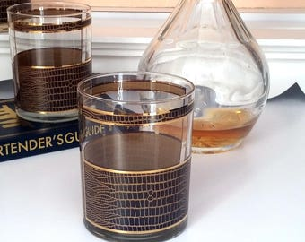 60s GEORGES BRIARD Cocktail Glasses - Set of 4 - Handsome Chocolate Brown Faux Leather Design - Old Fashioned Glasses