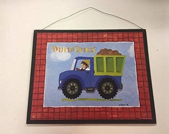 Dump Truck teddy bear in a construction tractor sign little or baby boys nursery bedroom decor decorations