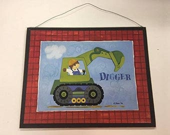 Digger teddy bear in a construction tractor sign little or baby boys nursery bedroom decor decorations