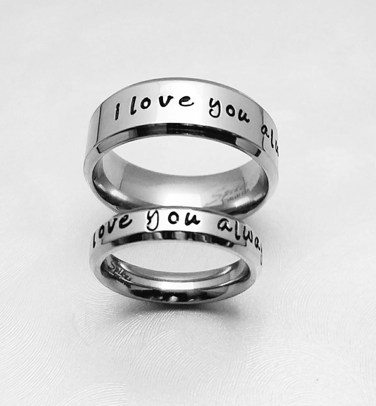 Matching Bands: Personalized Matching Rings Name Rings Wedding Bands