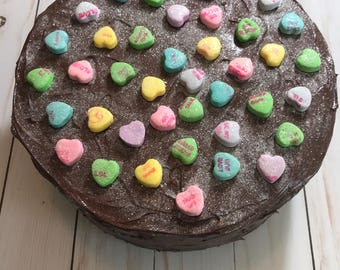 Faux Valentines Chocolate Cake with Conversation Hearts