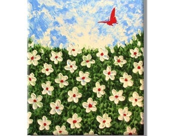 50% off SALE Clearance Sale:White Flowers with a Butterfly.Original Handpainted Acrylic Thick 3d Texture Impasto Palette Knife Painting. Siz