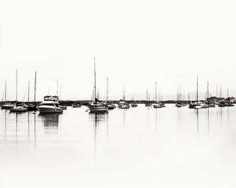 Boats at Marina -  Black and White Photograph Print