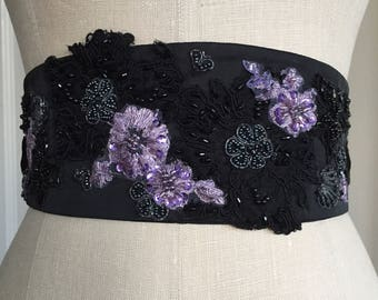 Beautiful beaded black sash, Black wedding sash, purple and black beaded obi, obi belt sash, purple obi belt, waist cincher sash