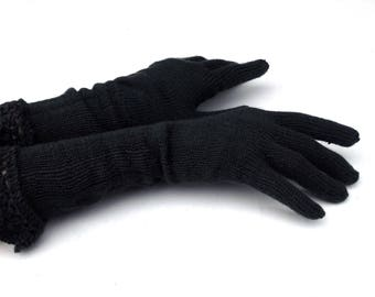 Knit gloves, knitted gloves with fingers, knitting gray fingered gloves, women hand warmers, autumn arm warmers, mittens, knit wear
