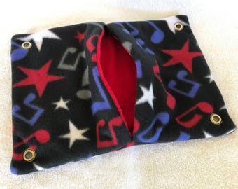 """9""""x14"""" Pocket Hammock for Pet Rats, Sugar Gliders - All Fleece Patriotic Music with Red Interior - Won't Fray When Chewed!"""