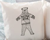 "Snuggle up with our ""Hygge Bear"" cushion ! On trend design for nordic cosiness, perfect gift for birthdays, Christmas or just to send a hug"