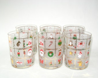 Culver Set 6 DOF Glasses CHRISTMAS POTPOURRI- Mint Double Old Fashioned Glass Tumblers Holiday Bar