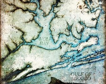 "Wolf Bay // Orange Beach, Alabama  // Metal Sign // 12"" x 16"""