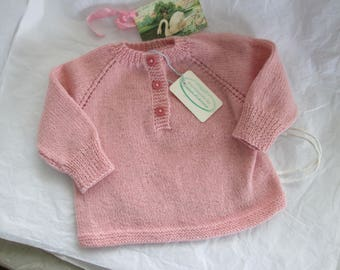 Hand Knit Baby Sweater Pullover 6M 9M Baby Girl Luxury Merino Wool Ready to Ship