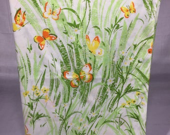 Vintage floral twin sheet with bright yellow flowers, orange and yellow bitterflies, bedding, linens, Bibb,