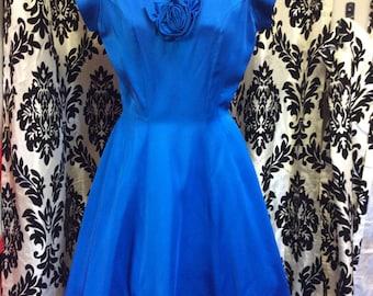 Exquisite 50's Cobalt Blue Satin Formal